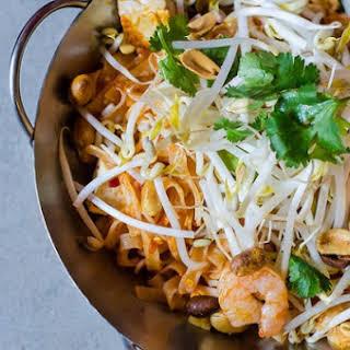 Hot Shrimp Noodles with Poached Eggs.