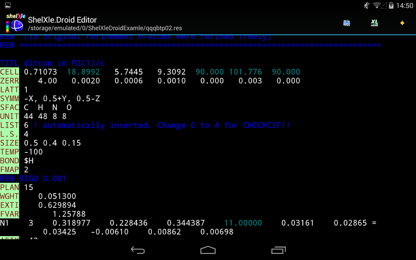 ShelXle.Droid- screenshot