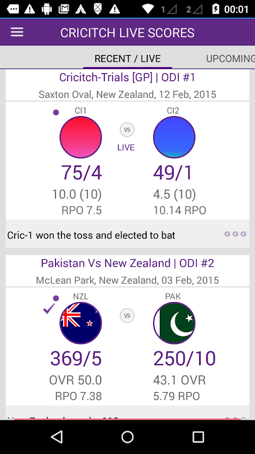 cricitch LIVE cricket scores- screenshot