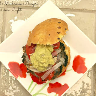 Stuffed Mushroom Burgers with Guacamole and Roasted Red Pepper.
