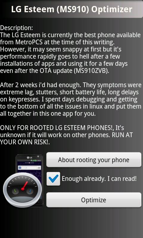 LG Esteem Optimizer **ROOT**- screenshot