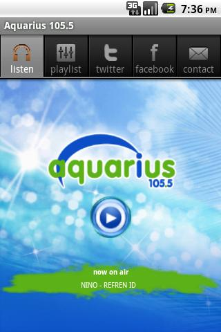 AQUARIUS FM 105.5 - στιγμιότυπο οθόνης