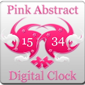 Pink Abstract Digital Clock