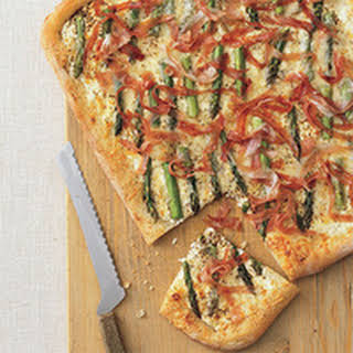 Asparagus, Cheese and Prosciutto Pizza.
