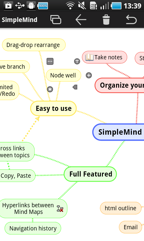 SimpleMind mind mapping - screenshot