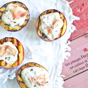 Grilled Peaches with Ham and Cream of Brie