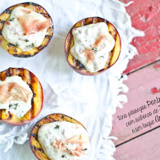 Grilled Peaches with Ham and Cream of Brie.
