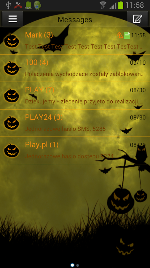 GO SMS Pro Theme Halloween - screenshot