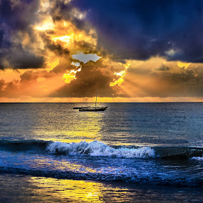 Sunrise in Mombasa by Muema Nzomo - Landscapes Beaches ( kenya, ocean, beach, boat, africa,  )