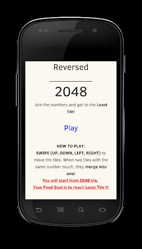 Reversed 2048 Number Game