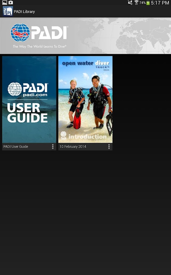 PADI Library - screenshot