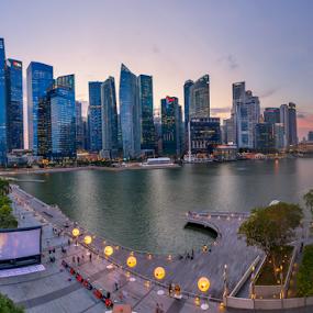 sunset- Financial District by GokulaGiridaran Mahalingam - Buildings & Architecture Office Buildings & Hotels ( office, skyline, mbfc, buildings, mbs, architecture, dusk, singapore, hotels )