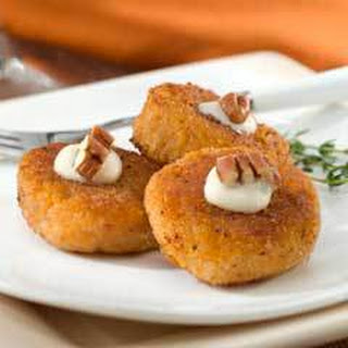 Sweet Potato Pancakes With Brown Sugar Cream.