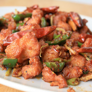 Sichuan Chicken with Peppercorns and Chile.