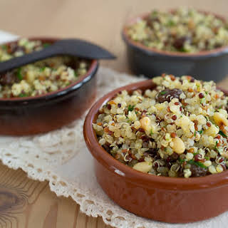 Quinoa Salad with Toasted Pine Nuts, Raisins and Lime.