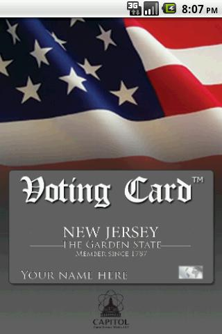 Voting Card New Jersey