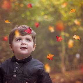 autumn bliss by Melissa Marie Gomersall - Babies & Children Toddlers ( orange, autumn, joy, little, leaves falling, bliss, cute, leaves,  )
