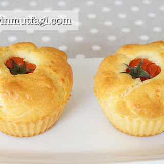 Savory Muffins With Tomato Topping.