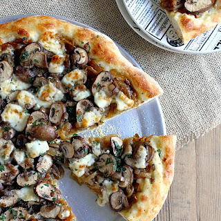 Brie, Caramelized Onion and Mushroom Pizza