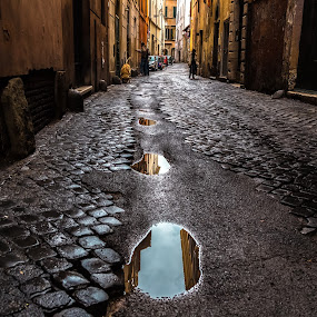 Puddle Lane by Stephen Bridger - City,  Street & Park  Neighborhoods ( roma, european, europe, italia, rome, puddles, puddle, italy, cobblestone, alley, lane )