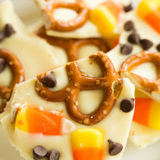 Candy Corn and Pretzel Chocolate Bark.