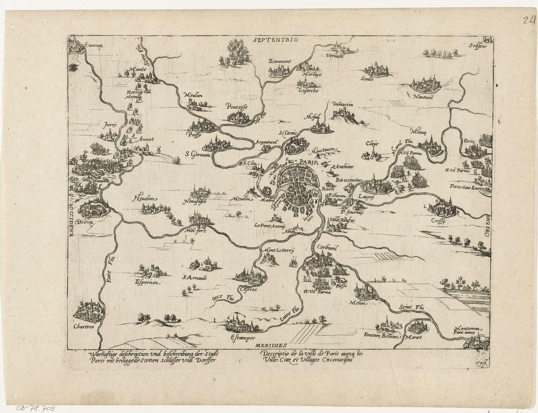 Kaart van Parijs en omgeving, 1590