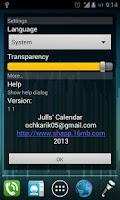 Screenshot of Julls' Calendar Widget Lite