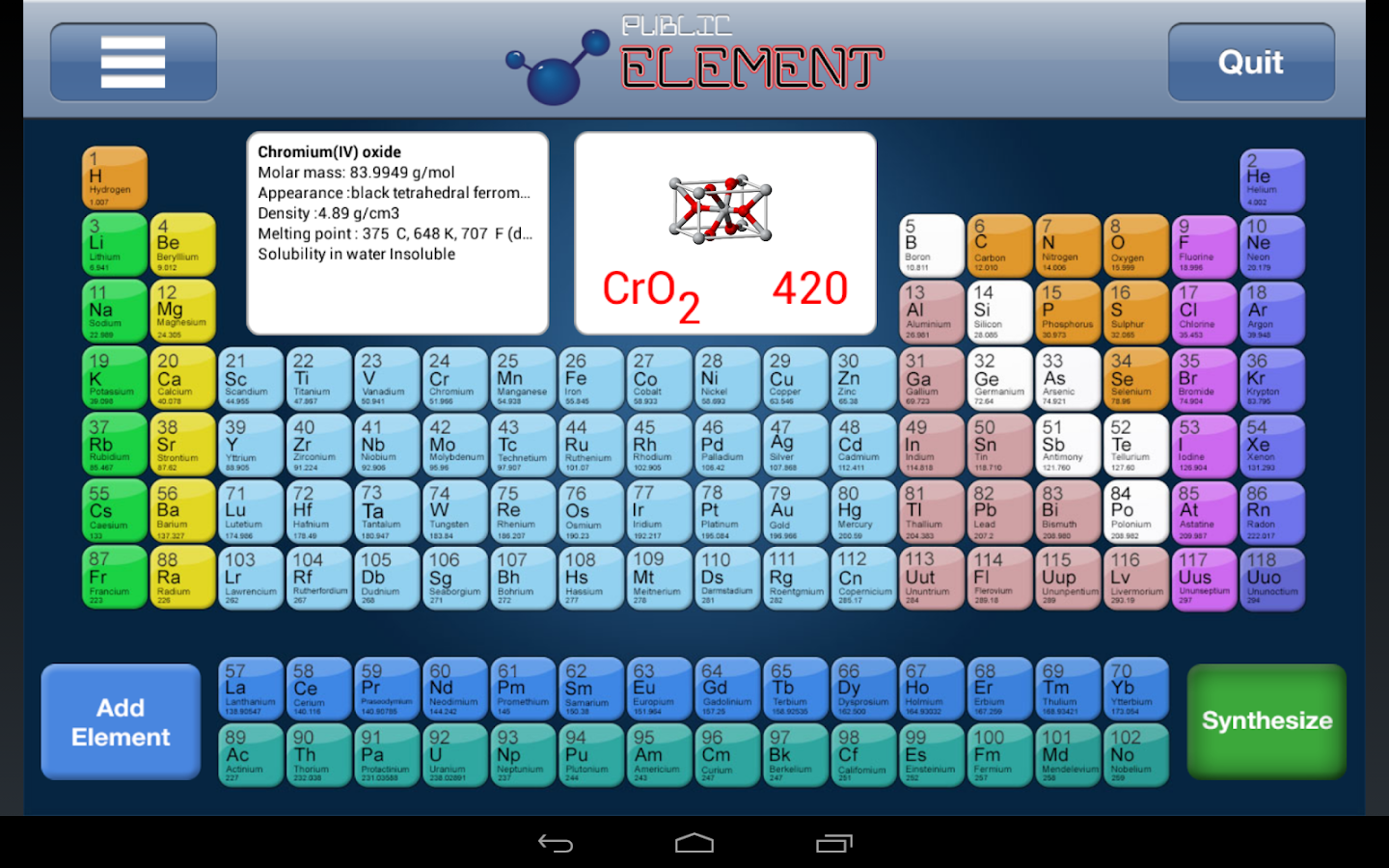 Periodic Table Element Public - screenshot