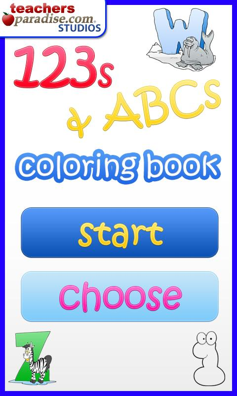 123s ABCs Kids Coloring Book - screenshot