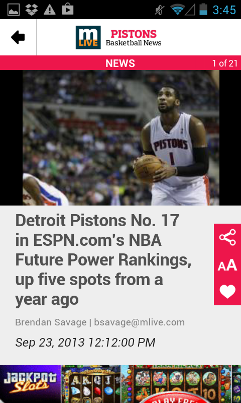 MLive.com: Pistons News - screenshot