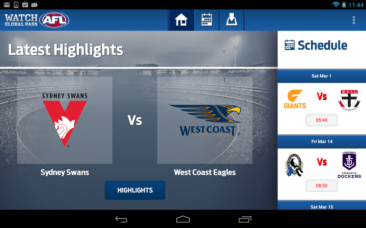 Watch AFL Global Pass - screenshot