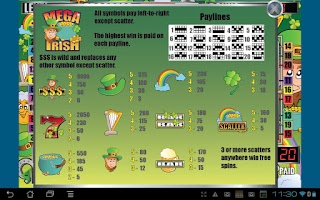 Screenshot of Mega Irish Slot Machine