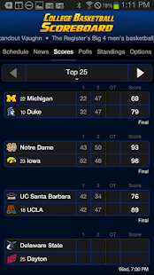 College Basketball Scoreboard- screenshot thumbnail