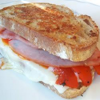 Roasted Red Pepper, Gruyère and Ham Panini.