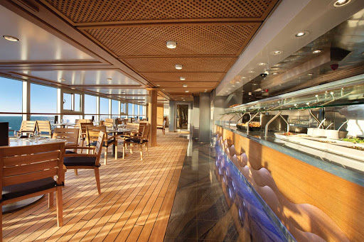 Oceania_Waves_Grill-1 - Take a break from lounging in the sun and enjoy an informal meal in the Wave Grill's dining room aboard  Oceania's Marina.