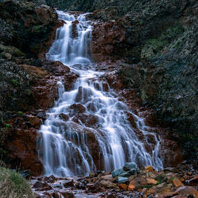 The Water-Velvet by Lillian Molstad Andresen - Landscapes Waterscapes ( water, iceland, mountain, nature, grass, waterfall, long exposure, landscape, longexposure, rocks, evening,  )