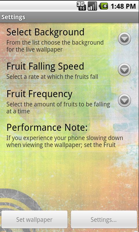 Falling Fruit Live Wallpaper - screenshot