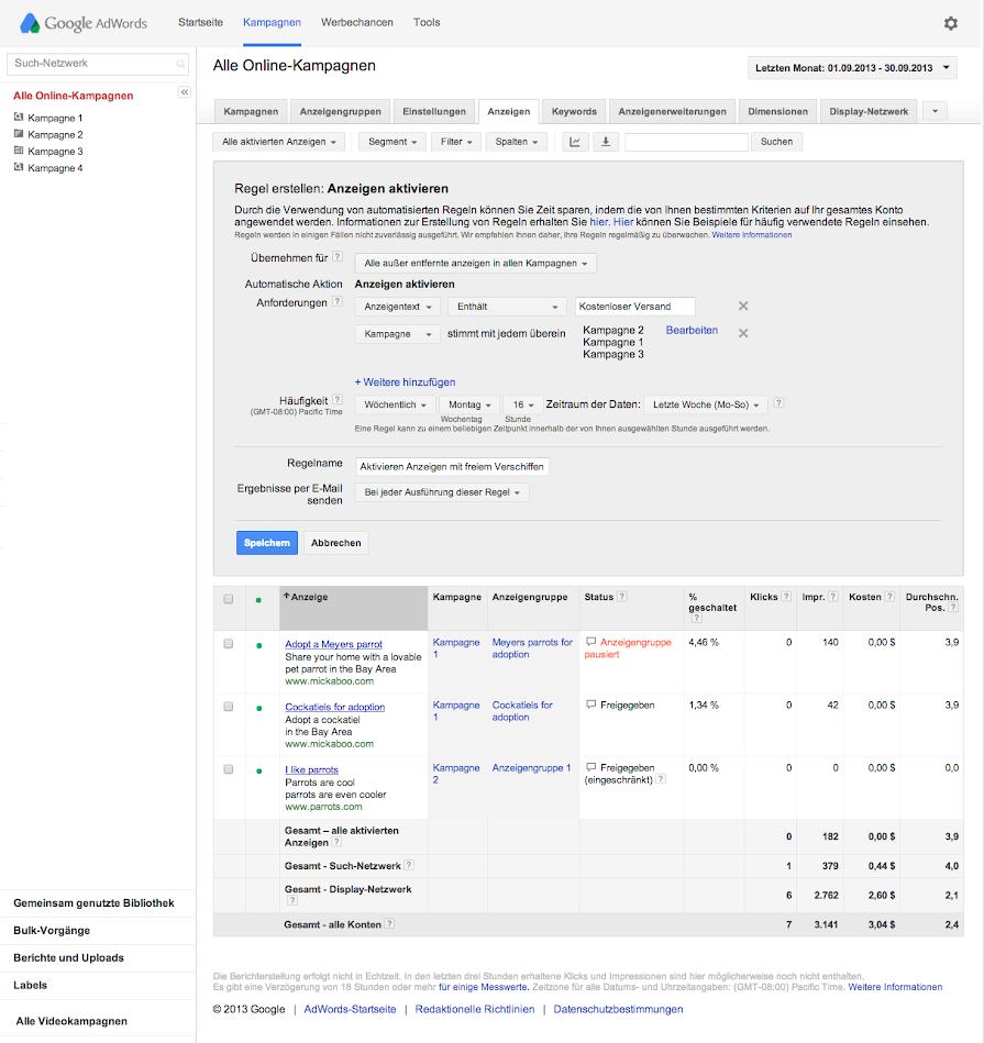 Automatisierte Regeln einrichten - Hilfe für AdWords