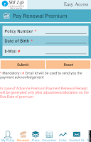Screenshot of SBI Life Easy Access