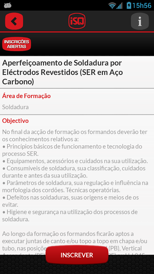 ISQ Form– captura de ecrã