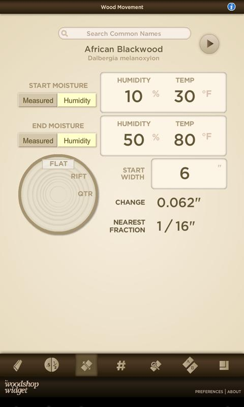The Woodshop Widget- screenshot