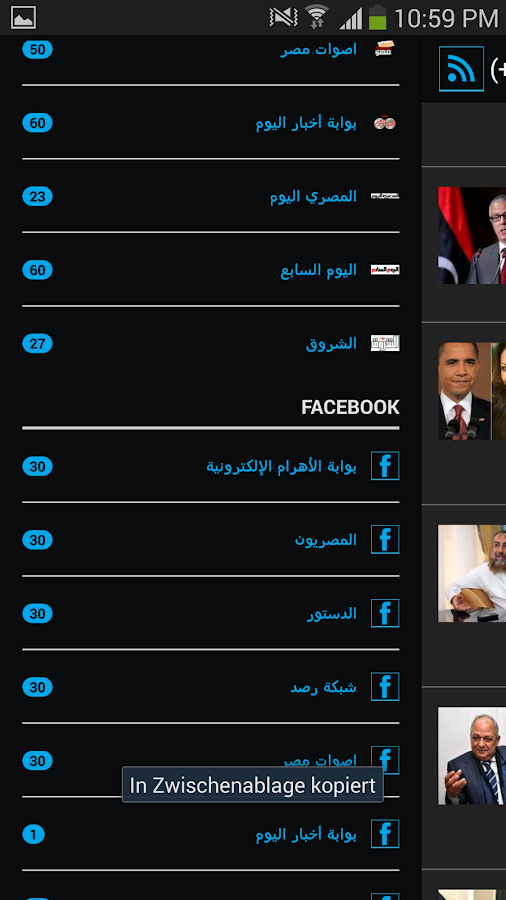 Egyptian newspapers - screenshot