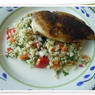 Spiced Chicken with Rice Salad.