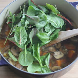 Brothy Mushroom Soup with Greens.