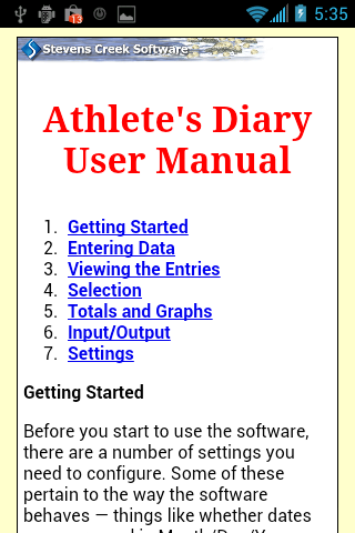 Athlete's Diary- screenshot