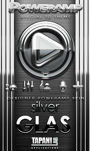 Poweramp skin Silver Glas luxe
