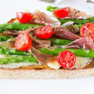 Greyère, Asparagus and Prosciutto Open-Face Sandwich.