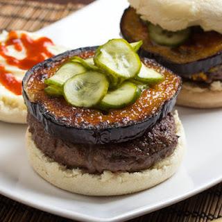Japanese Miso-Glazed Eggplant Burgers With Fresh Pickles.