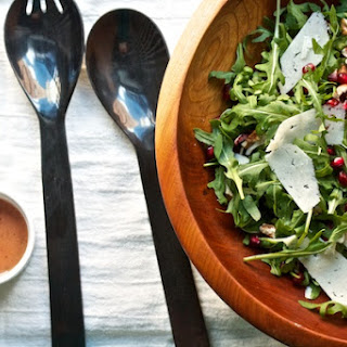 Arugula & Radicchio Salad with Pomegranate, Pecans, and Pecorino.