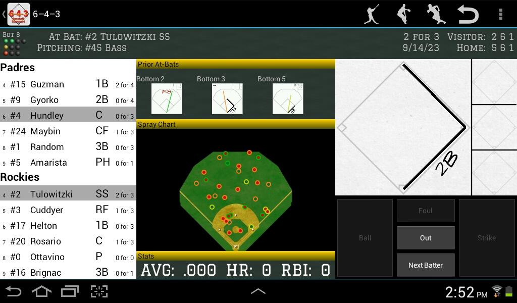 6-4-3 Baseball Scorecard- screenshot